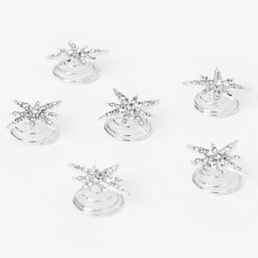 Silver Embellished Starburst Hair Spinners - 6 Pack,