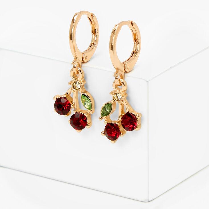Gold 10MM Cherry Huggie Hoop Earrings - Red,