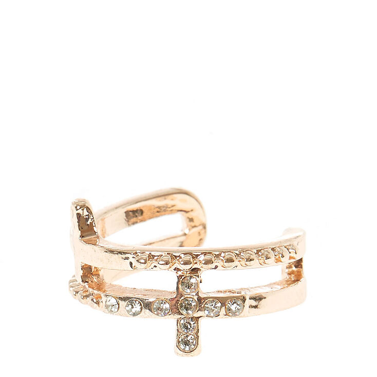 Rose Gold Double Cross Toe Rings,