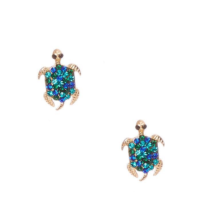 Gold-Tone & Blue Gem Turtle Stud Earrings,