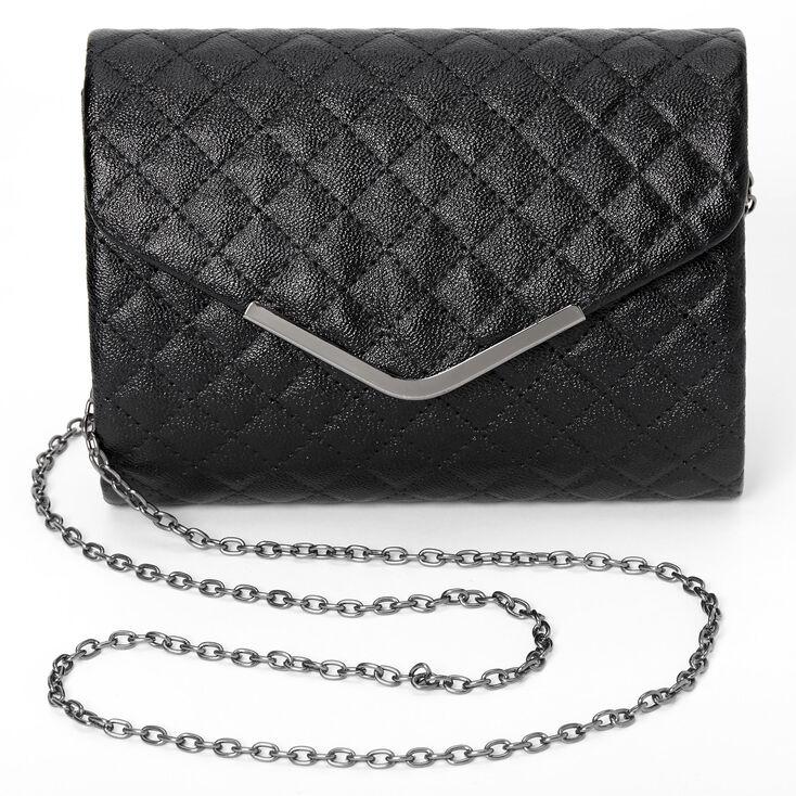 Quilted Envelope Clutch Bag - Black,