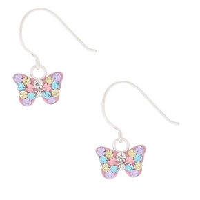 Sterling Silver Pastel Butterfly Drop Earrings,