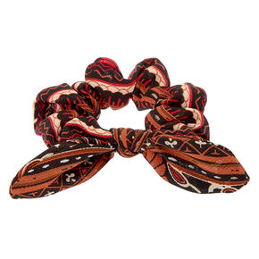 Aztec Floral Knotted Bow Hair Scrunchie - Red,