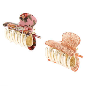 Floral Glam Gliiter Mini Hair Claws - Pink, 2 Pack,