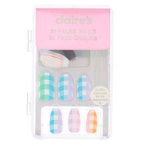 Pastel Plaid Faux Nail Set - 24 Pack,