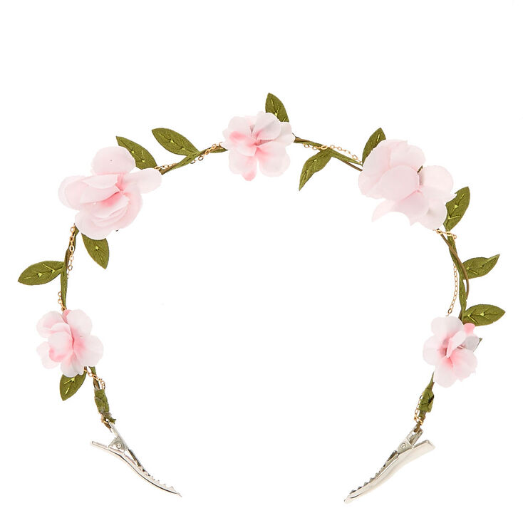 Pink Ivy Clip On Flower Crown,
