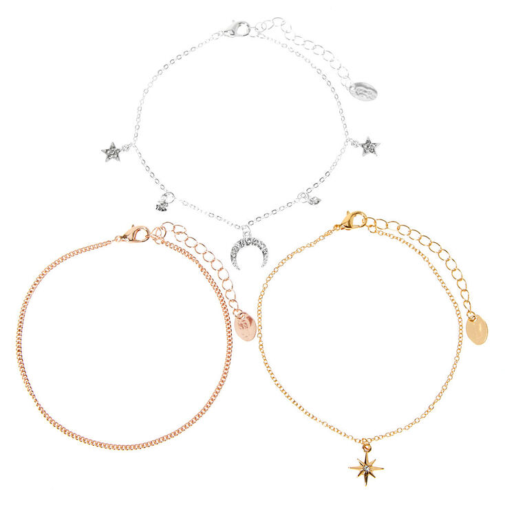 Mixed Metal Star Horn Chain Anklets - 3 Pack,