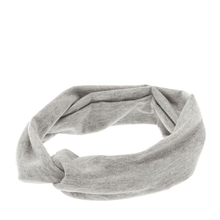 Light Gray Jersey Knotted Headwrap,