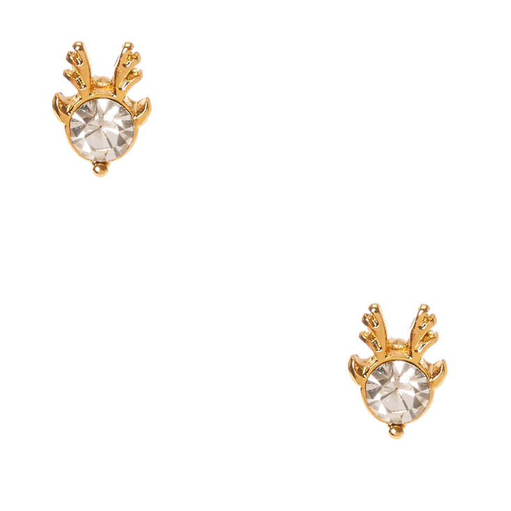 18kt Gold Plated Crystal Deer Earrings,