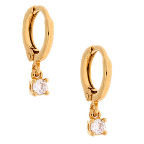 18kt Gold Plated Cubic Zirconia Stone Huggie Hoop Earrings,