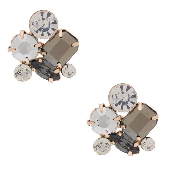 Rhinestone Cluster Stud Earrings,