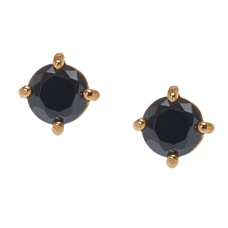 Gold Tone Framed Round Black Cubic Zirconia Stud Earrings,