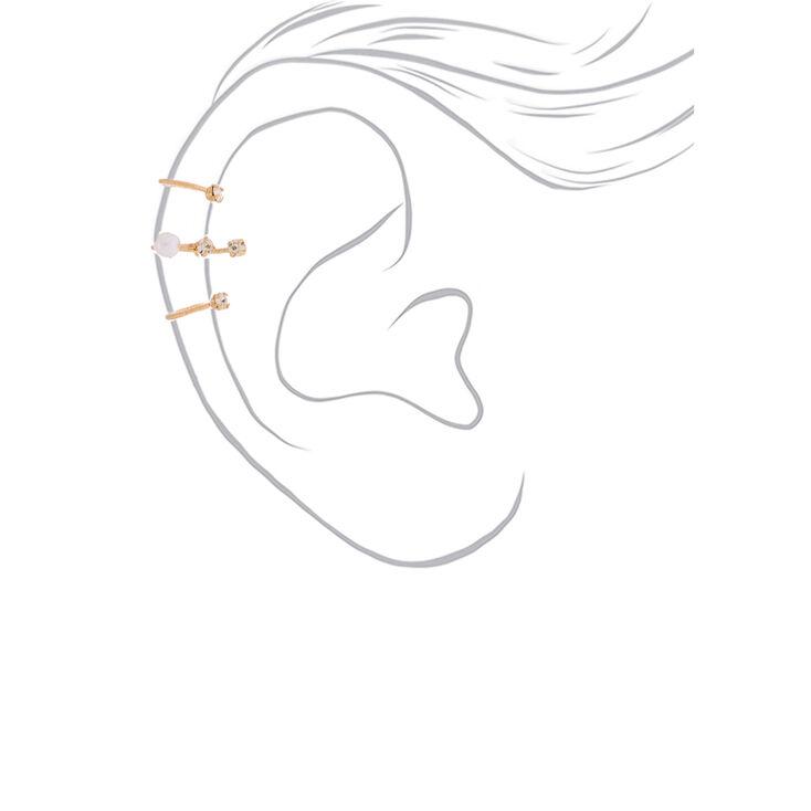 "Gold 1"" Pearl Ear Cuff,"