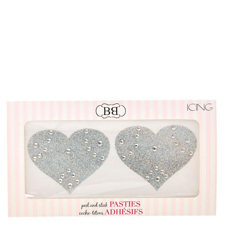 Silver Glitter Heart Peel & Stick Pasties,