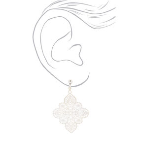 "Silver 2"" Filigree Clip On Drop Earrings,"