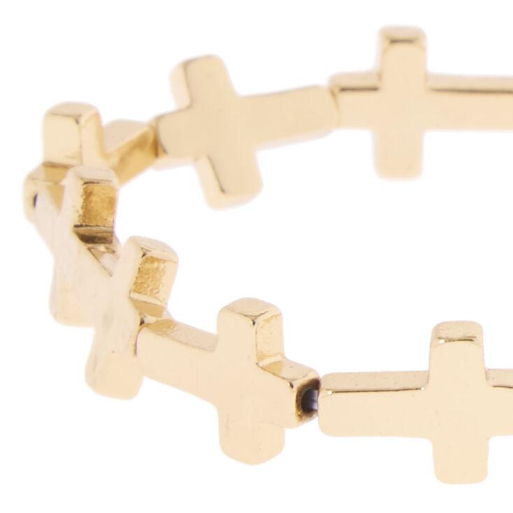 Gold-Tone Stretch Cross Bracelet,