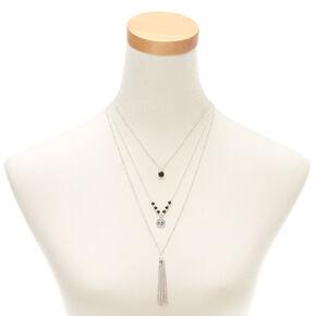 Silver Tassel Multi Strand Necklace,