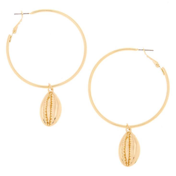Gold 50MM Puka Shell Hoop Earrings,