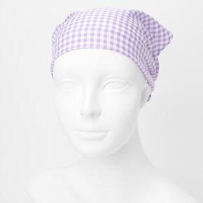 Gingham Head Scarf - Lilac,