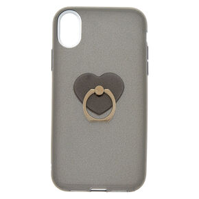 Glitter Heart Ring Stand Phone Case - Fits iPhone XR,