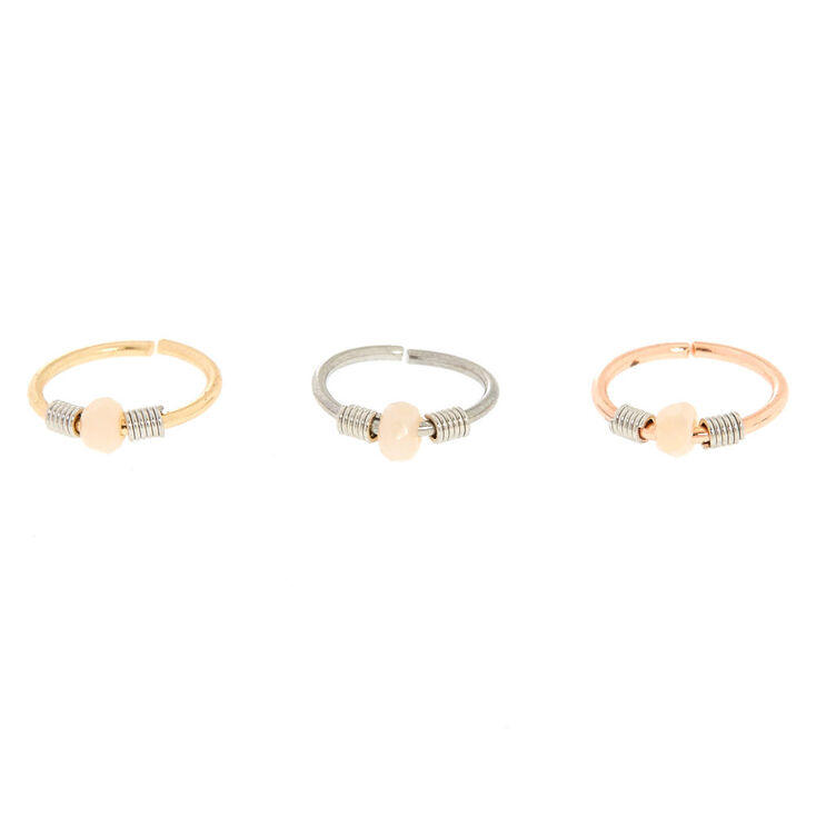 3 Pack Opal Coil Mixed Metal Nose Rings,