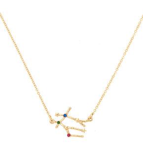 Gold Zodiac Constellation Pendant Necklace - Gemini,