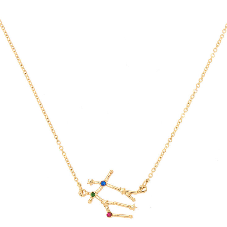 Gold Zodiac Constellation Pendant Necklace - Gemini,