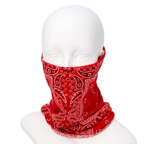 Paisley Bandana Headwrap/Gaiter - Red,