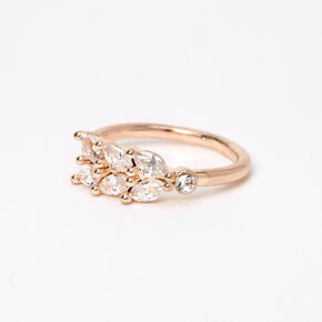 Rose Gold Cubic Zirconia Leaf Midi Ring,