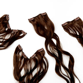 Wavy Faux Hair Clip In Extensions - Dark Brown, 4 Pack,