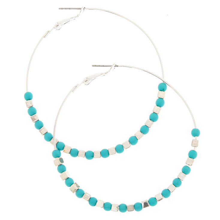 60MM Silver Teal Beaded Hoop Earrings,