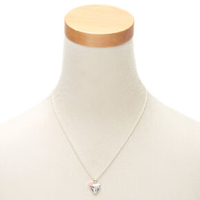Silver Engraved Heart Locket Pendant Necklace,