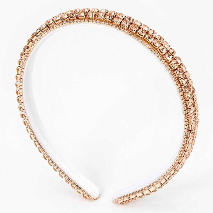 Rose Gold Double Row Rhinestone Headband,