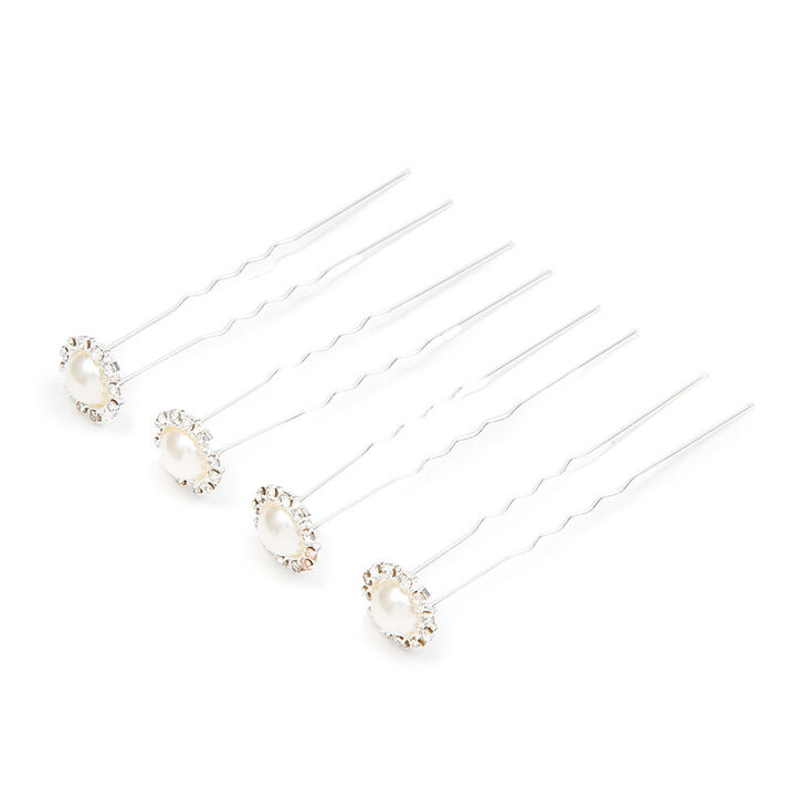 Crystal Framed Pearl Chignon Pins Set of 4,