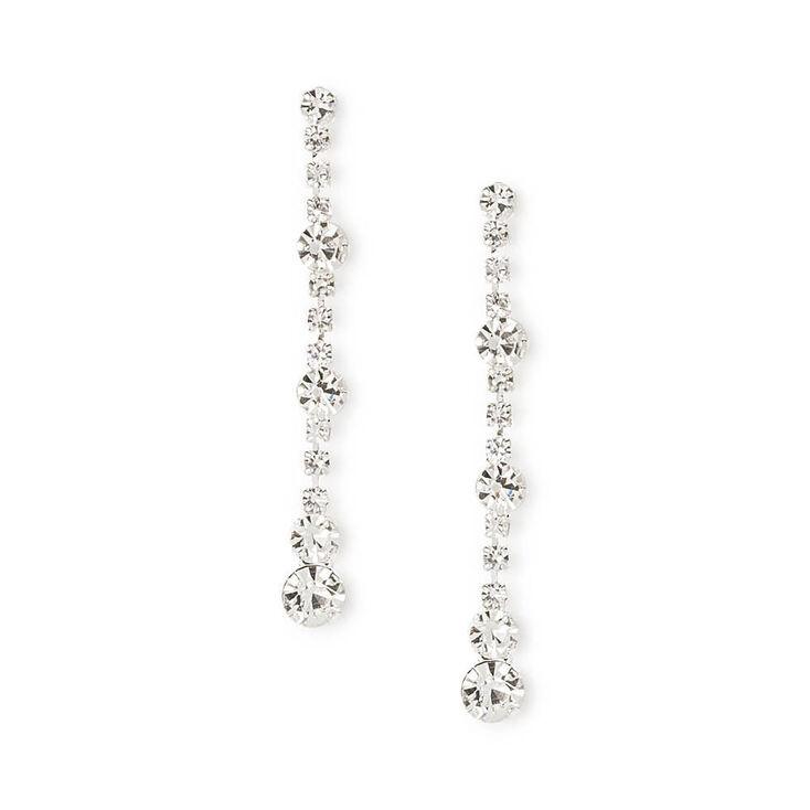 Rhinestone Chain & Crystals Linear Drop Earrings,