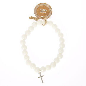White Beaded Have Faith Bracelet,