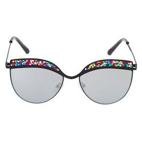 Cat Eye Rainbow Glitter Sunglasses - Black,