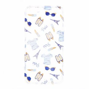 Clear Paris Print Phone Case,