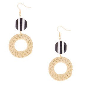 """Gold 3"""" Round Striped Straw Drop Earrings - White,"""
