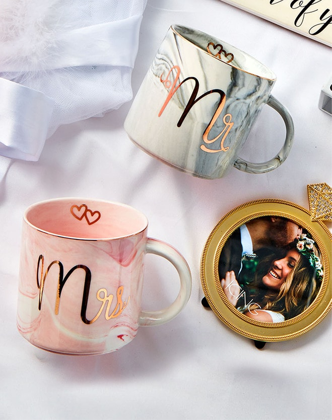 Mugs with Mr. and Mrs. messaging