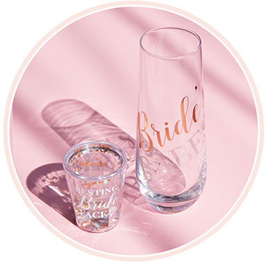 tumbler with bridal messaging