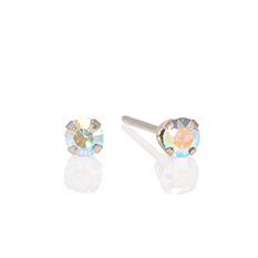 iridescent stone white gold studs